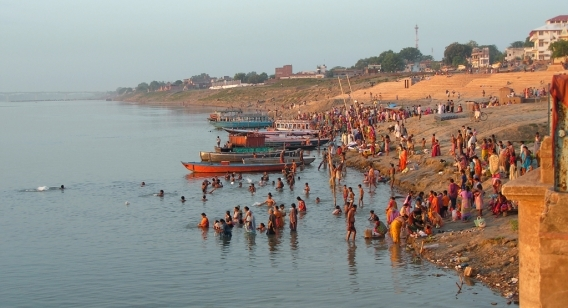 The Ganges speckled with colour