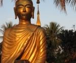 A Buddha with at begging bowl at Wat Choumkhong