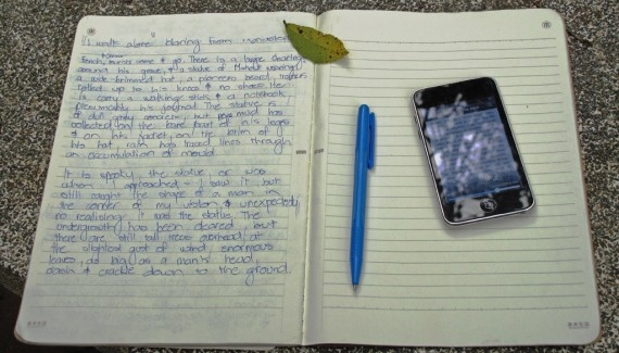 My journal and my iTouch, which I was using to read Henri Mouhot's journal, at the picnic table beside his grave