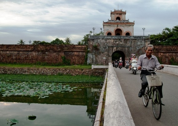 Entering Hue, the walled former capital of Vietname