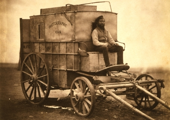 The cart Roger Fenton used to carry photographic equipment during the Crimean War