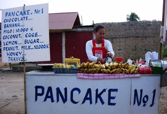 Banana pancakes in Vang Vieng, Laos