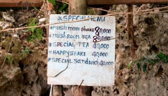 A drug menu in Vang Vieng, Laos