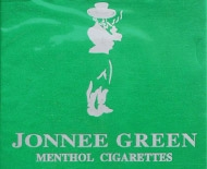 Jonnee Green menthol cigarettes, made by the China-Laos Good Luck Tobacco Company