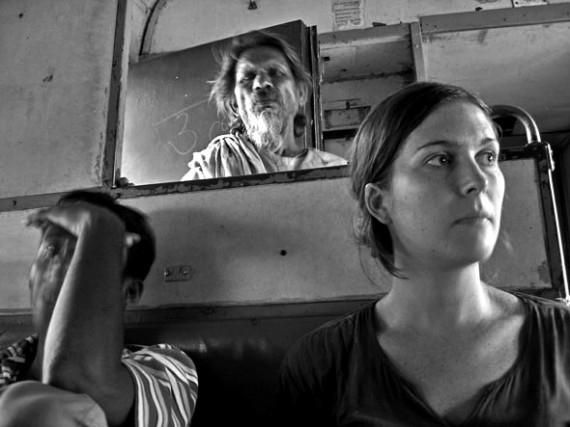 Claire on the train from Gorakhpur to Varanasi